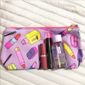 Clinique sample set w/ cosmetic bag